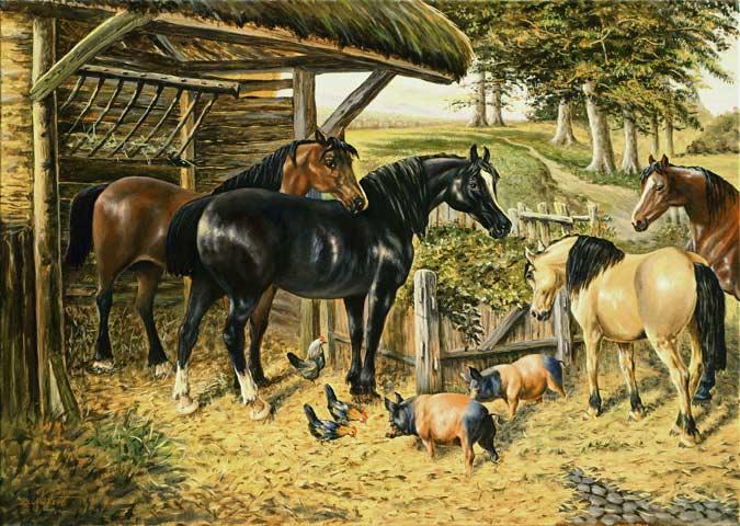 Pferde schweine und h hner am pferdestall gem lde 50x70 cm for Foto di piani di costruzione di fattoria