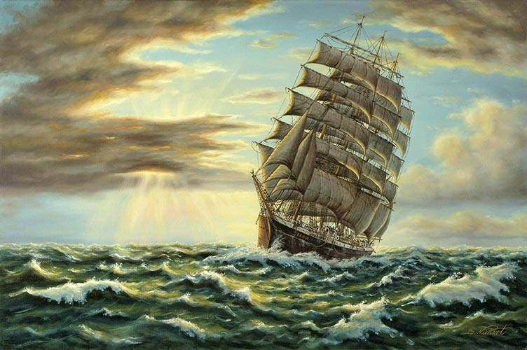 Segelschiffe auf dem meer  Gemälde / Segelschiff: