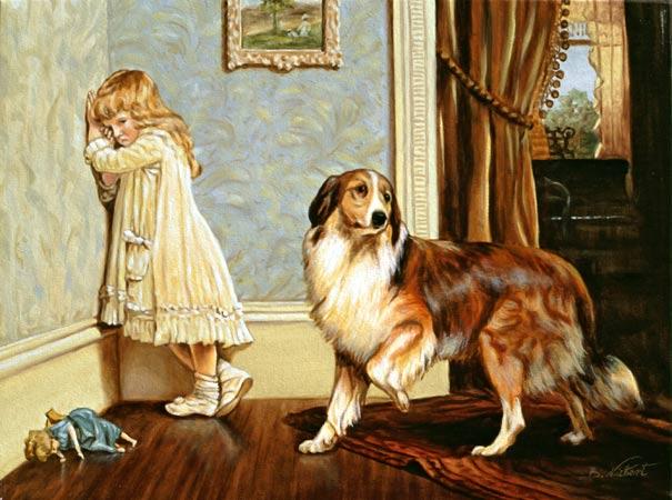 Mädchenbild hundebild mädchen mit hund copyright by kunstmaler